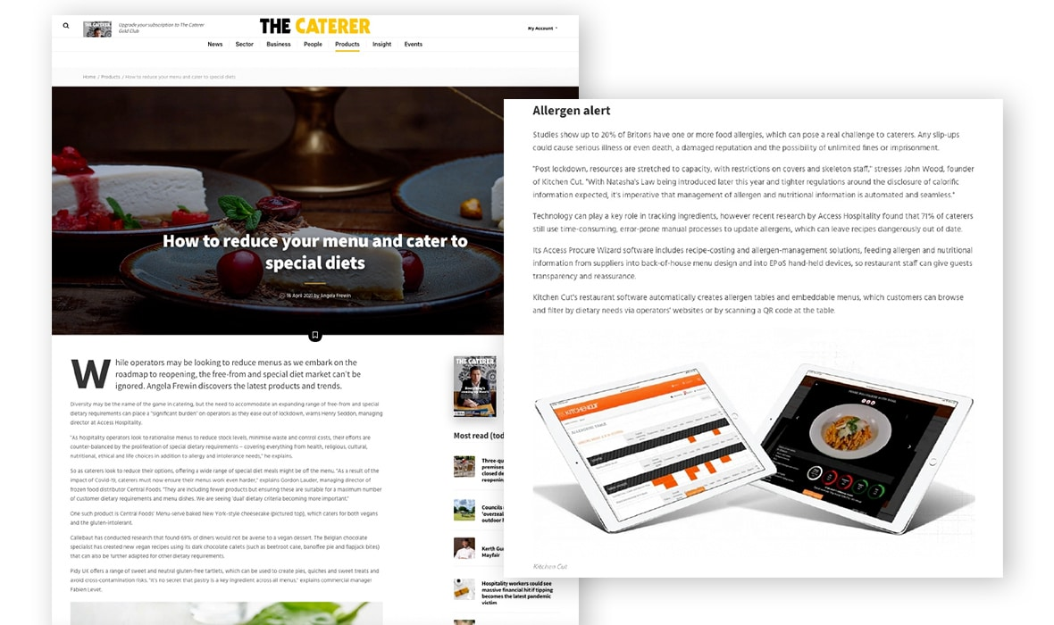 The Caterer- Special Diets and Allergens
